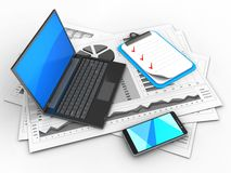 3d black laptop. 3d illustration of business charts and black laptop over white background with clipboard Royalty Free Stock Image