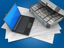 3d black laptop. 3d illustration of diagram papers and black laptop over blue background with case Stock Images