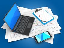 3d black laptop. 3d illustration of diagram papers and black laptop over blue background with clipboard Stock Images