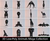 3d black low poly animals collection. 3d low poly animals collections with different kinds such as lion a horse a camel an elephant an much more Royalty Free Stock Photography