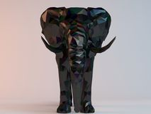 3D black low poly (Elephant). Inside a white stage with high render quality to be used as a logo, medal, symbol, shape, emblem, icon, children story, or any Stock Images
