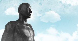 3D black male AI against sky and clouds. Digital composite of 3D black male AI against sky and clouds Royalty Free Stock Photo