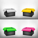 3D black multicolored box. 3D black outside multicolored inside open paper packages on light white mesh background Stock Images