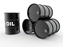 3d black oil barrels. 3d render of four black oil barrels Royalty Free Stock Photos