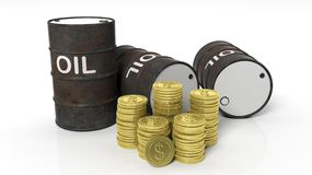 3D black oil drum with golden coins stacks Royalty Free Stock Images