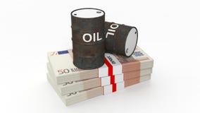 3D black oil drum on money stacks Stock Photography