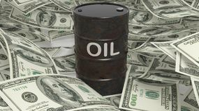 3D black oil drum set on dollar. Banknotes pile Royalty Free Stock Images