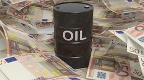 3D black oil drum set on euro. Banknotes pile Stock Images