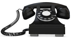 3d black old-fashioned phone. On white background Royalty Free Stock Images