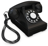 3d black old-fashioned phone. On white background Stock Photo