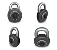 3d black padlock range four set . 3D Icon Design Series. Stock Photo