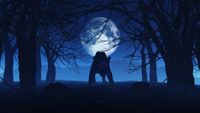 3D black panther in spooky woods Stock Photos