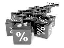 3d Black percent dice receding Royalty Free Stock Images