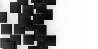 3D black plane Cubes groupd stairs puzzle isolated on white background Royalty Free Stock Image