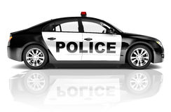 3D Black Police Car  on White.  Royalty Free Stock Images