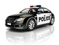 3D Black Police Car on White Background.  Stock Photography