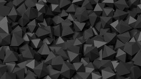 3D black polyhedrons pile abstract. Background Stock Photography