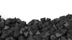 3D black polyhedrons pile. Isolated on white with copy-space Stock Images