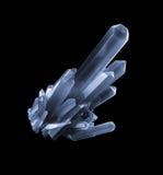 3d black quartz crystal, abstract faceted gem, rough nugget, dig. Ital illustration  on black background Royalty Free Stock Images