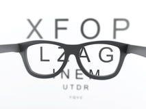 3d Black reading glasses focus on eye chart. 3d renderer image. Black reading glasses focus on eye chart Royalty Free Stock Photo