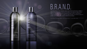 3D Black Realistic Cosmetic Product Shampoo Bottle Package Template. 3D Realistic Black Cosmetic Product Shampoo Bottle Package Template. EPS10 Vector Stock Photography