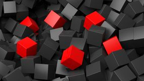 3D black and red cubes pile. Abstract background Royalty Free Stock Image