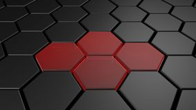 3d black and red hexagon background, 3d render. Illustration Royalty Free Stock Images