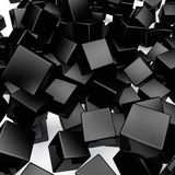 3D black rounded cubes. Falling 3D black rounded cubes background Stock Photos