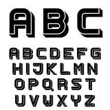 3D black simple font alphabet letters Stock Photo
