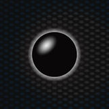 3D Black sphere over dark honeycomb background. 3D Illustration of a Black Sphere Over Blue and Black Honeycomb Background Royalty Free Stock Image