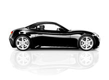 3D Black Sport Car on White Background.  Royalty Free Stock Photo