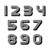 3D black striped numbers font. Illustration for the web Stock Photography