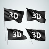 3D - black vector flags. A set of wavy flags created using gradient meshes. EPS 8 vector Royalty Free Stock Photos