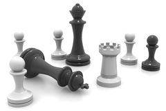 3d Black and White Chess Pieces Stock Photos