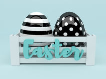 3d black and white Easter eggs in wooden box. 3d elegant black and white Easter eggs in wooden box Royalty Free Stock Photos