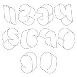 3d black and white futuristic numbers made with lines. Stock Images