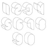 3d black and white futuristic numbers made with lines. Royalty Free Stock Image