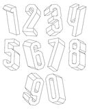 3d black and white geometric numbers made with lines. 3d black and white geometric numbers made with lines, stylish simple shaped numerals for design Stock Photography