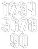 3d black and white geometric numbers made with lines. Royalty Free Stock Photos
