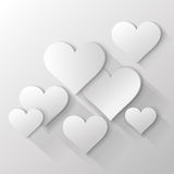 3D black and white paper hearts on white backgroun Royalty Free Stock Photo