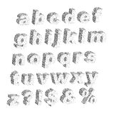 3D black white stipple dots texture font typographic letters alp. Habet and notation Stock Image
