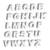 3D black white stipple dots texture font typographic letters. Alphabet and notation Stock Photography