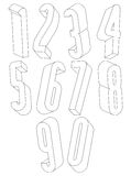 3d black and white tall numbers made with lines. Royalty Free Stock Image