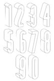 3d black and white tall numbers made with lines. Royalty Free Stock Photography