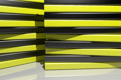 3d black and yellow bars. 3d rendering of an abstract composition with a lot of black and yellow  bars Royalty Free Stock Images