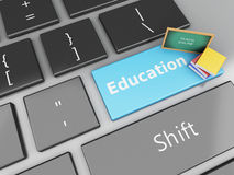 3d Blackboard and books on computer keyboard. 3d renderer illustration. Blackboard and books on computer keyboard. Education concept Stock Photo