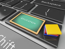 3d Blackboard and books on computer keyboard. 3d renderer illustration. Blackboard and books on computer keyboard. Education concept Royalty Free Stock Photo