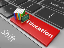 3d Blackboard and books on computer keyboard. Stock Images