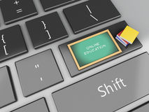 3d Blackboard and books on computer keyboard. 3d renderer illustration. Blackboard and books on computer keyboard. Education concept Stock Images