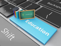 3d Blackboard and books on computer keyboard. 3d renderer illustration. Blackboard, graduation cap and books on computer keyboard. Education concept Stock Photo